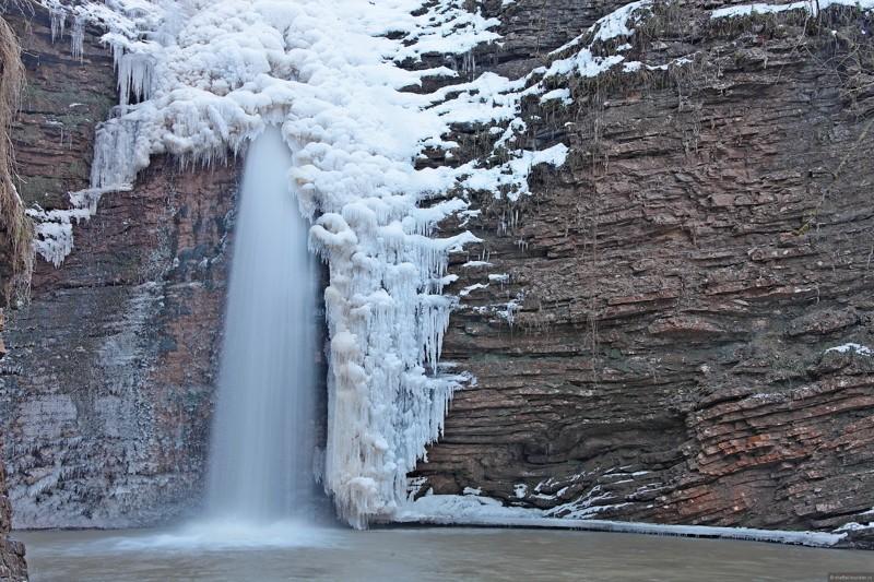 Руфабго, Адыгея водопады, водопады России, водопады зимой, замёрзшие водопады, красивые водопады, природа России