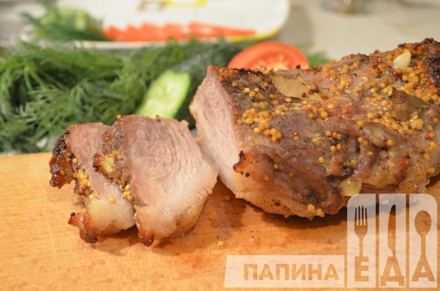 Свинина, запечённая в горчице