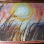 Картина ручной работы из шерсти «На закате»
