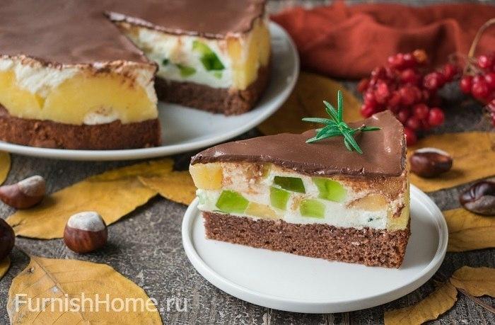 Торт с нежным суфле и ананасами