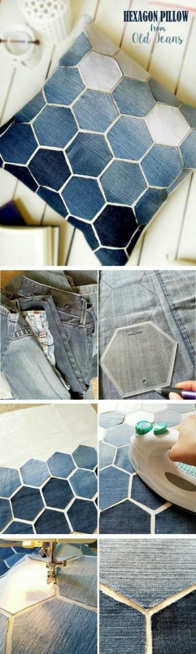 Подушка из джинсов и кожи (diy)