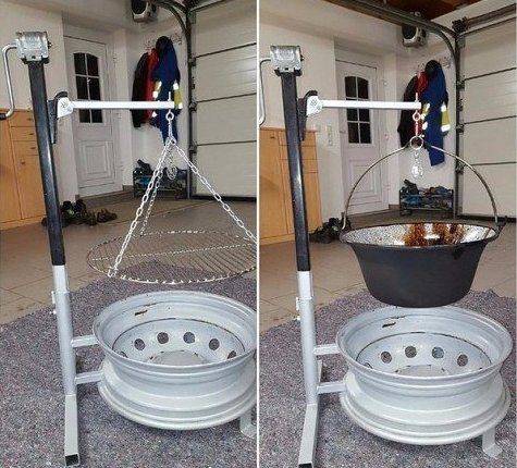 Изготовление очага из колёсных дисков
