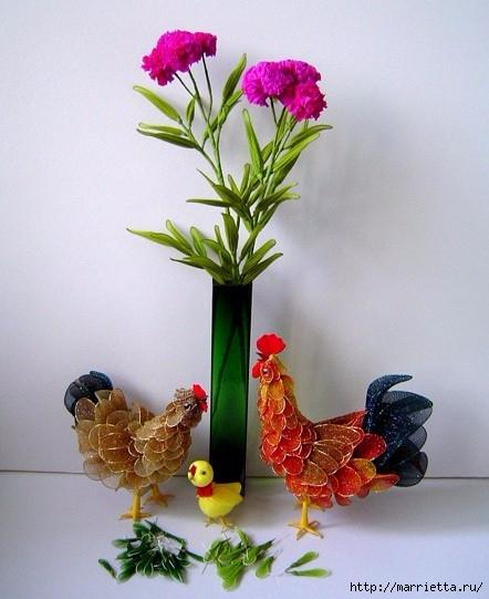Петушки и птички из капрона, идеи