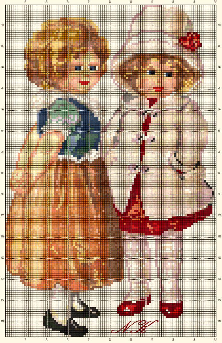 Схемы для вышивки крестом винтажных открыток