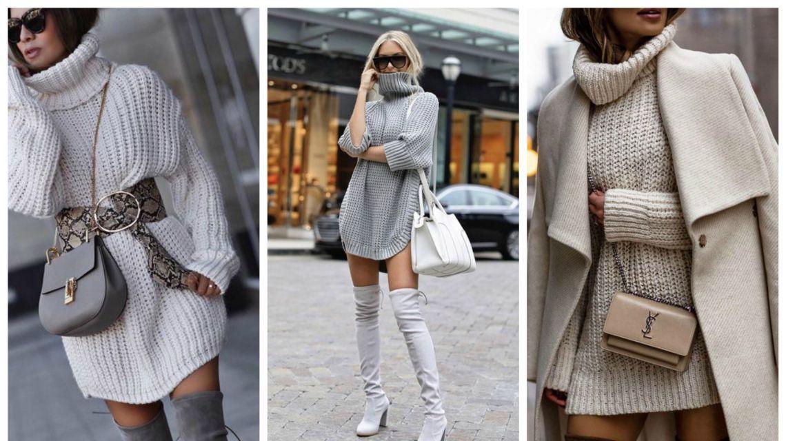 Без штанов! Стильные образы с платьем-свитером и сапогами