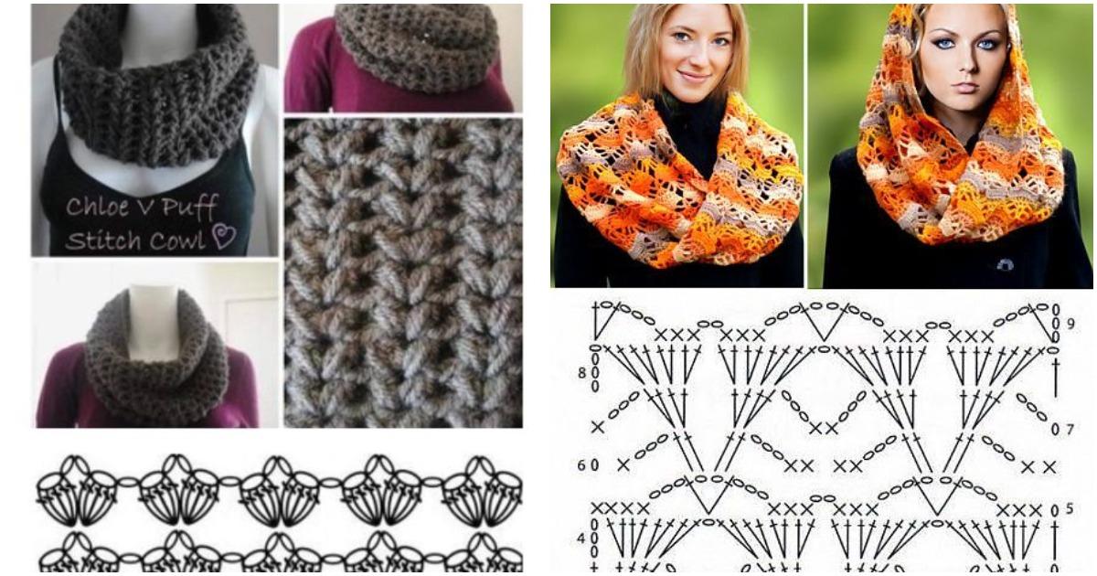 Вяжем воздушные шарфы крючком: 15 интересных моделей со схемами