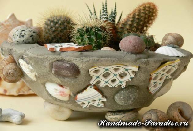 Кашпо из бетона для кактусов своими руками