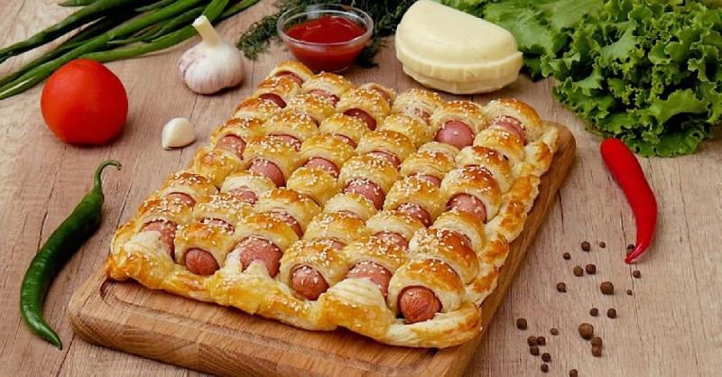 пирог с сосисками красивый