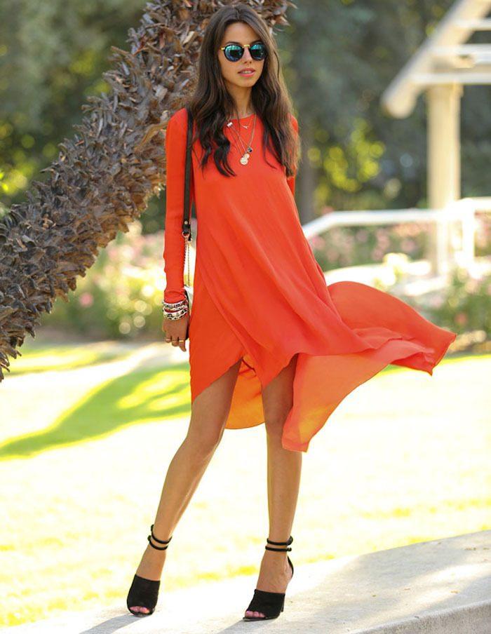 20 ослепительных платьев в оранжевом цвете