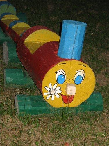Паровозик для детского сада своими руками на участок детского сада 98
