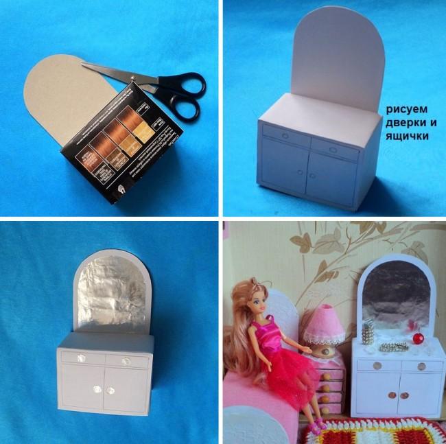 Как сделать кресло для куклы из коробки