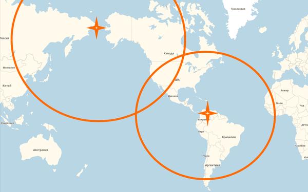 Примерное действие БРСД РФ, установленных у Берингова пролива и в Венесуэле