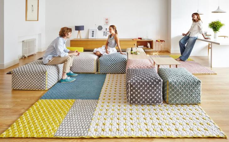 Вышитые ковры и пуфы Charlotte Lancelot