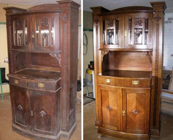 Как отполировать старый шкаф 5
