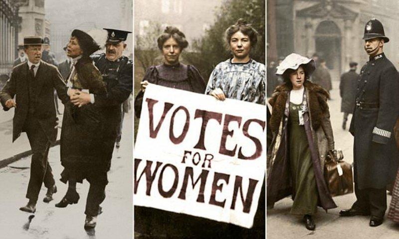 Английские суфражистки: уникальные цветные фото борцов за права женщин