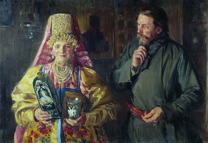 С праздником (Зарделась). И. С. Куликов, 1911 г. | Фото: artsait.ru.
