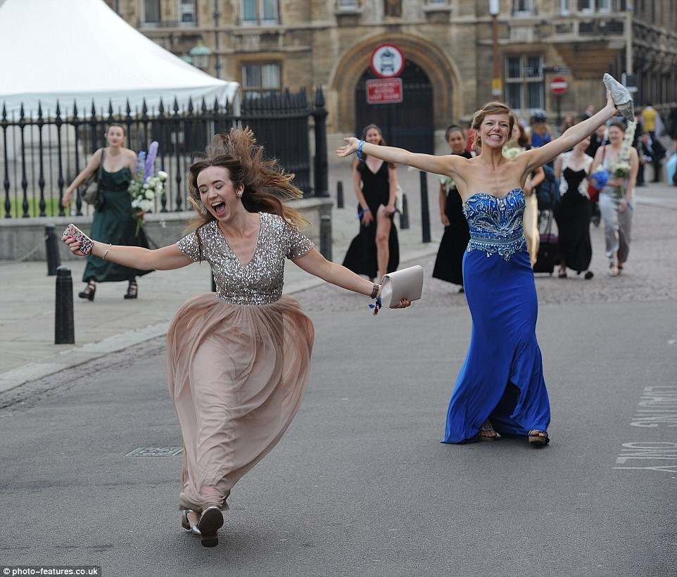 Female guests looked to be in high spirits as they made their way through the streets of Cambridge towards the party venue