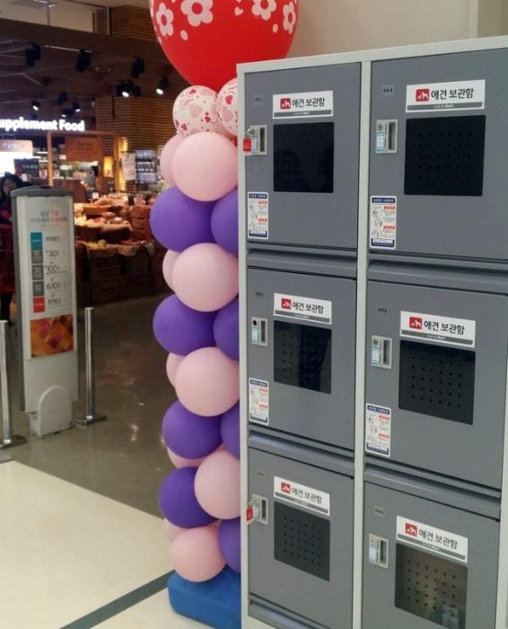Камеры хранения в супермаркете.