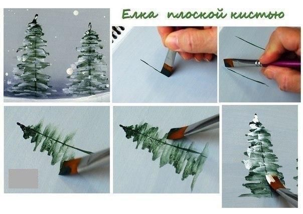 Как рисовать деревья кистью