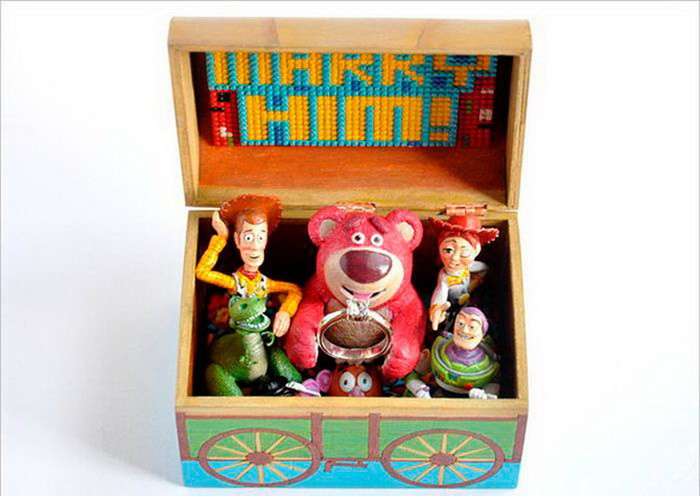 История игрушек поддерживает жениха диза, кольцо, креатив