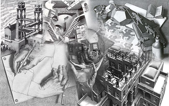 Коллаж из наиболее известных картин Маурица (Мориса) Эшера