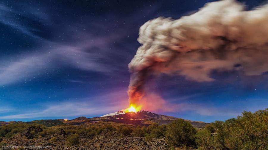 Панорама извержения вулкана Этна вулкан, фото