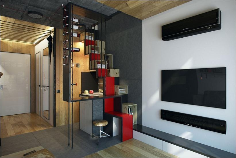 Зал кухня студия дизайн интерьера 18 кв.м