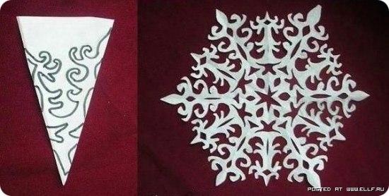 Снежинки из бумаги -3