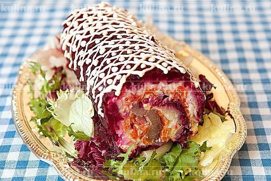 Салат селедка под шубой рулетом рецепт с фото пошагово