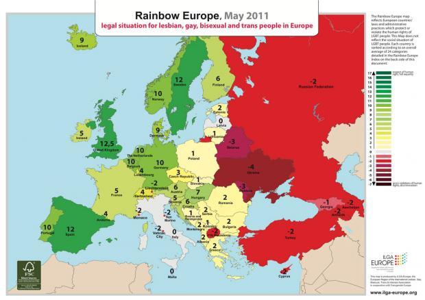 Карта благоприятствования ЛГБТ-сообществам в Европе