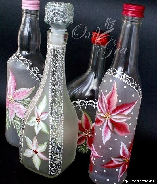 Роспись на бутылке для начинающ