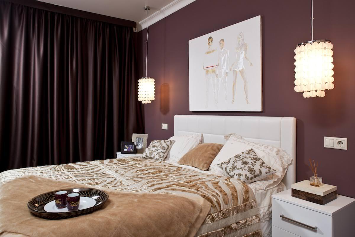 современное оформление интерьера спальни