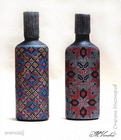Декор предметов Мастер-класс Роспись По мотивам вышивки Бутылки стеклянные фото 13