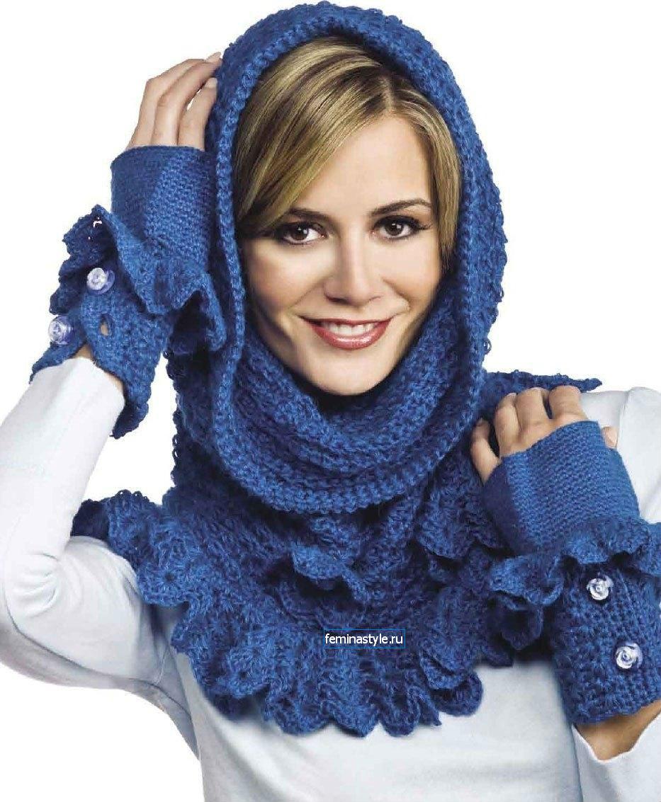шарф-труба из простой и травки пряжи схема вязания спицами