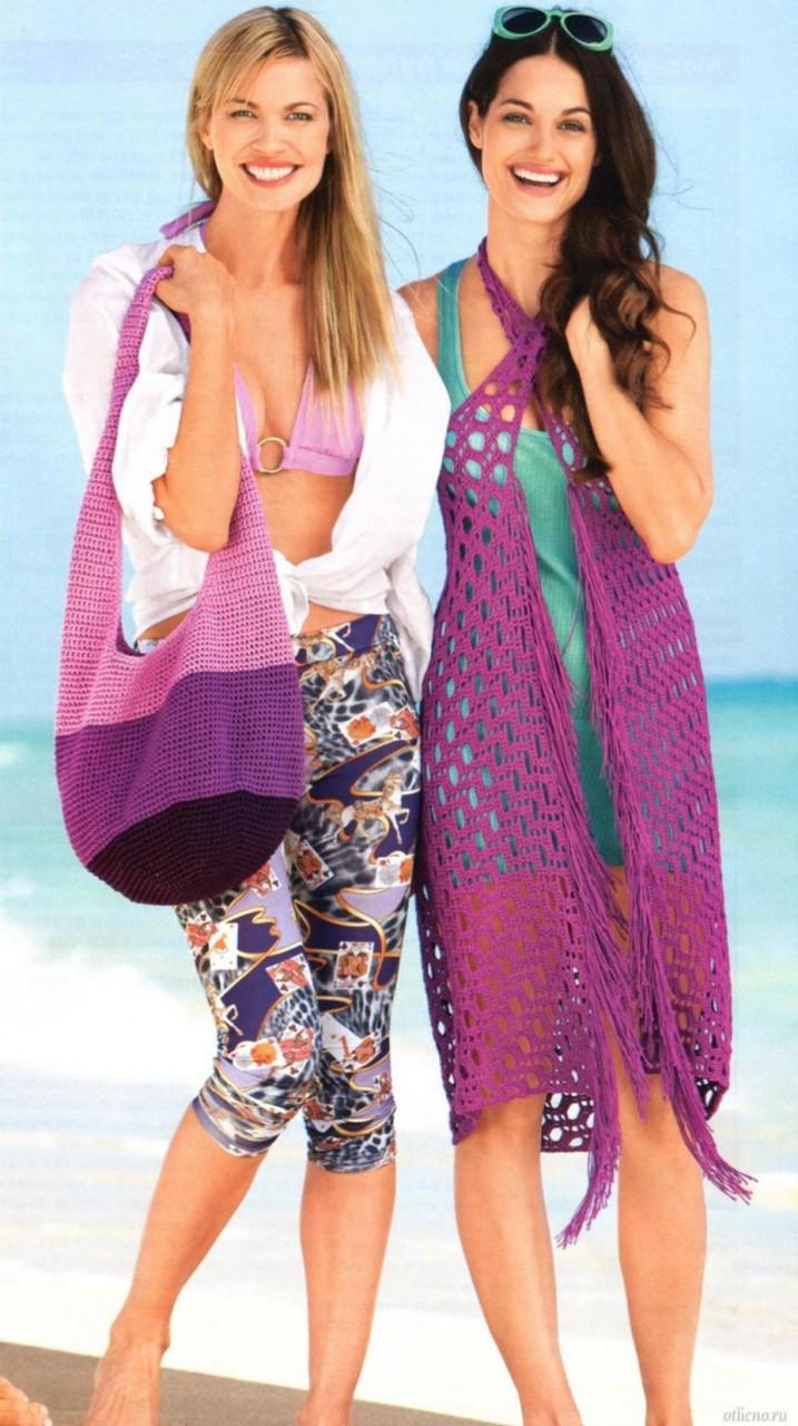 Пляжная сумка и парео - вяжем крючком