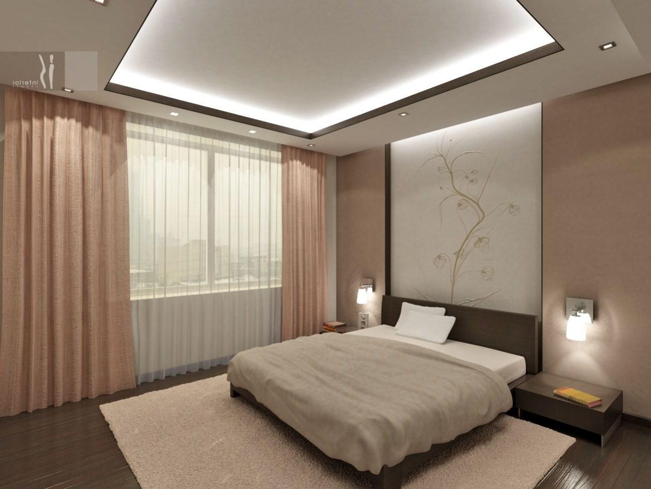 Дизайн потолков в спальне из гипсокартона фото