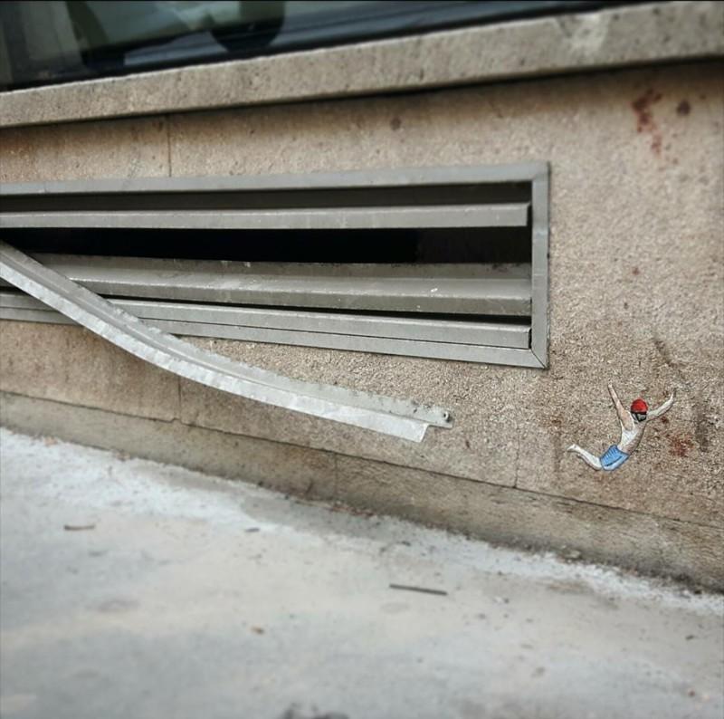 Прыжок вандализм, граффити, инсталляция, искусство, мир, творчество, улица, художник