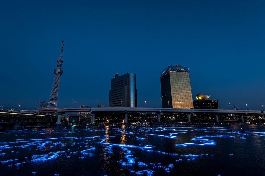 81 100.000 Голубые Шары, Плавающие Вниз по Реке В Токио