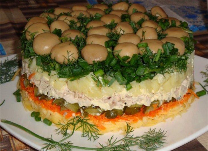 салат лесная поляна без куриного филе рецепт