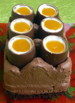 Праздничное меню на Пасху. Шоколадный чизкейк с шоколадными яйцами