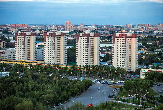 Вечерняя Астана с высоты