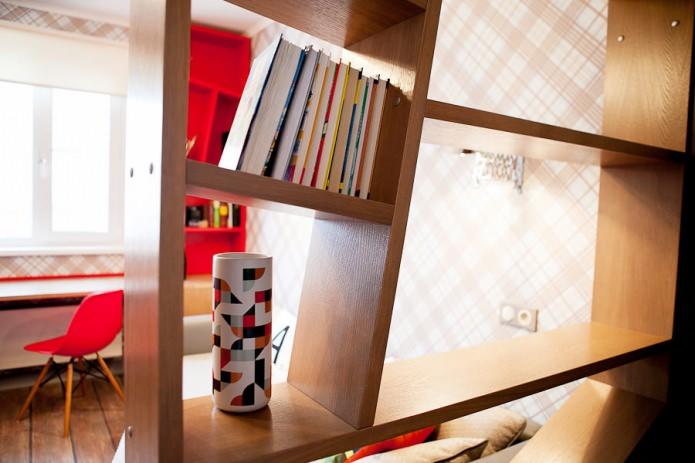 стеллаж в дизайне комнаты для юноши