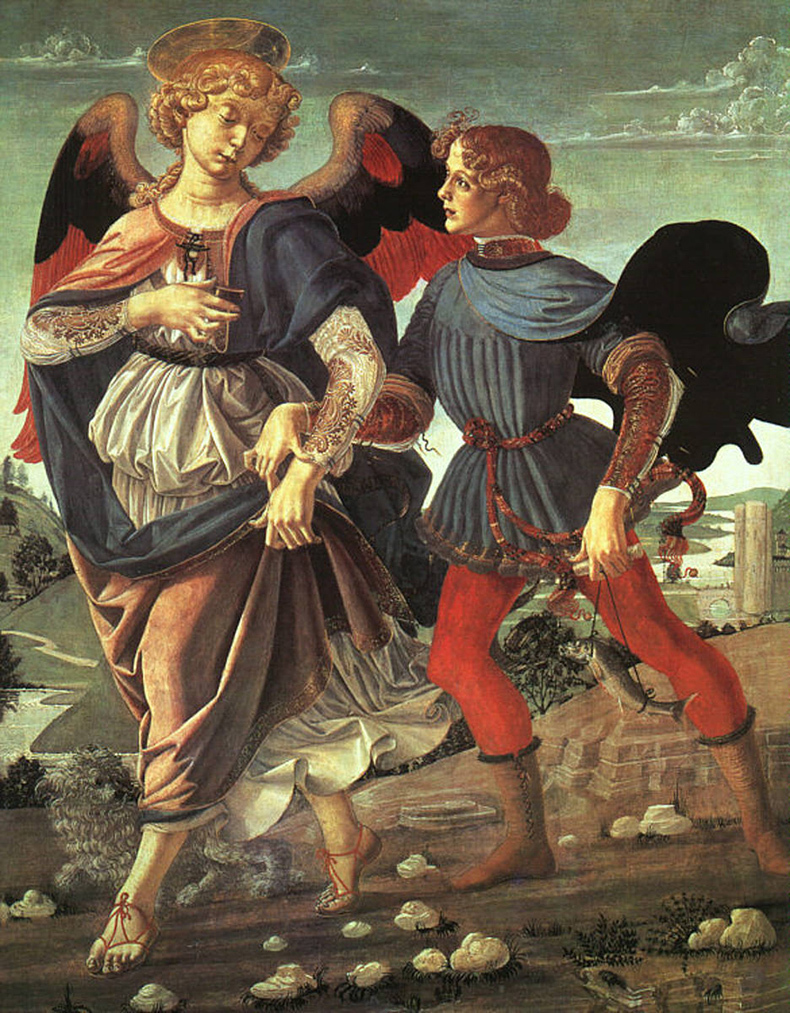 Workshop of Andrea del Verrocchio (Italian 1435-1488). Tobias and the Angel, 1470-80. Egg tempera on poplar. 33 1/4 x 26 1/16 in. (84.4 x 66.2 cm). National Gallery, London
