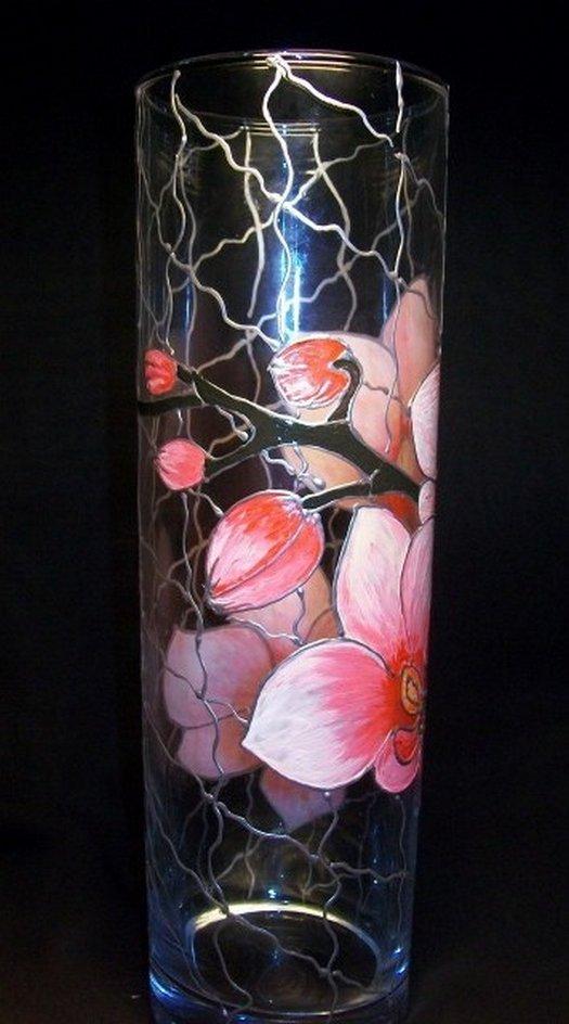 роспись вазы витражными красками