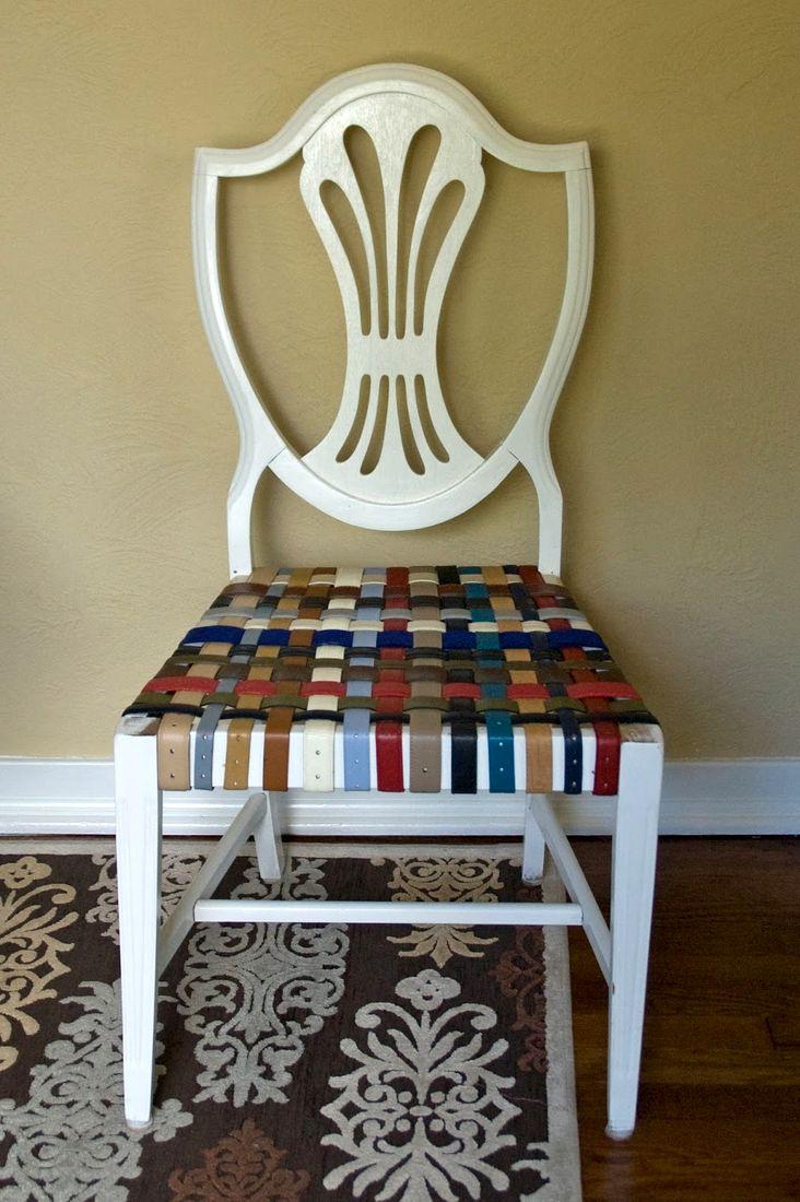 Плетеный стул и скамейка из старых ремней. Мастер-класс