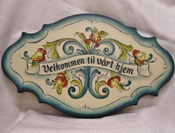 Lovely Telemark Style Rosemaled Greeting Plaque. $87.00, via Etsy.
