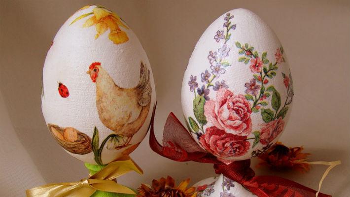 Декупаж варёных яиц на Пасху
