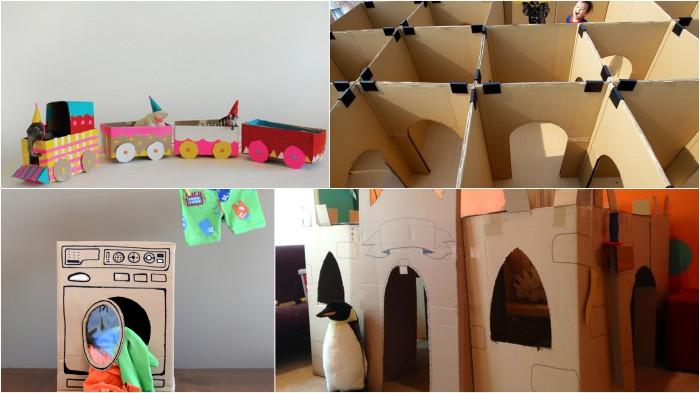 Идеи по  созданию чудесных игрушек из ненужных картонных коробок