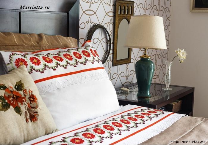 Красивая цветочная вышивка для постельного белья ( со схемой)