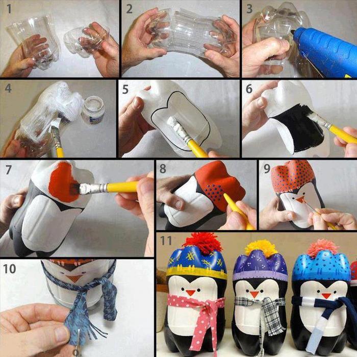 Пингвины из пластиковых бутылок своими руками фото